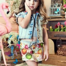 conjunto blusinha shorts summer frutas anime modelo