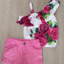 conjunto luluzinha shorts e blusinha rosas