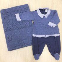 saida de maternidade beth bebe ursinho azul marinho