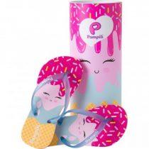 Chinelo Infantil Pampili Love Sorvetinho Azul Clar/Pink Batom