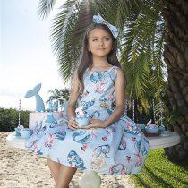 vestido infantil pituchinhus sereias escritas modelo