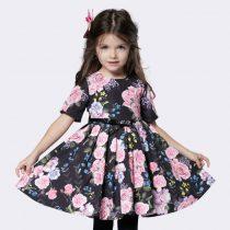 vestido infantil de festa luluzinha floral preto modelo