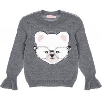 blusa tricot pituchinhus urso de oculos frente