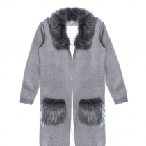 casaco infantil feminino de tricot pituchinhus frente 2