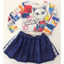 conjunto infantil mylu saia e blusa gatinha maravilha