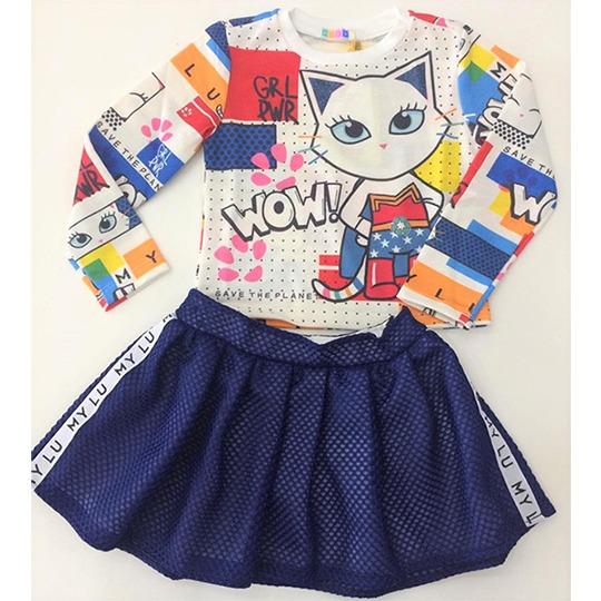 3b8f79ab54 conjunto infantil mylu saia e blusa gatinha maravilha