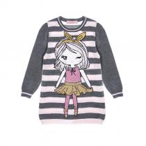 vestido infantil tricot pituchinhus boneca listrado