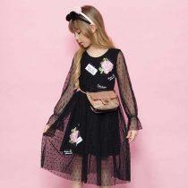 vestido infantil pituchinhus sobreposicao tule patches home