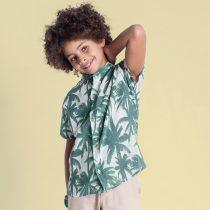 camisa infantil oliver manga curta tropical modelo
