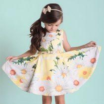 vestido infantil de festa luluzinha floral amarelho modelo