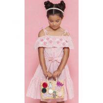 vestido infantil feminino xadrez rosa com laco modelo 1