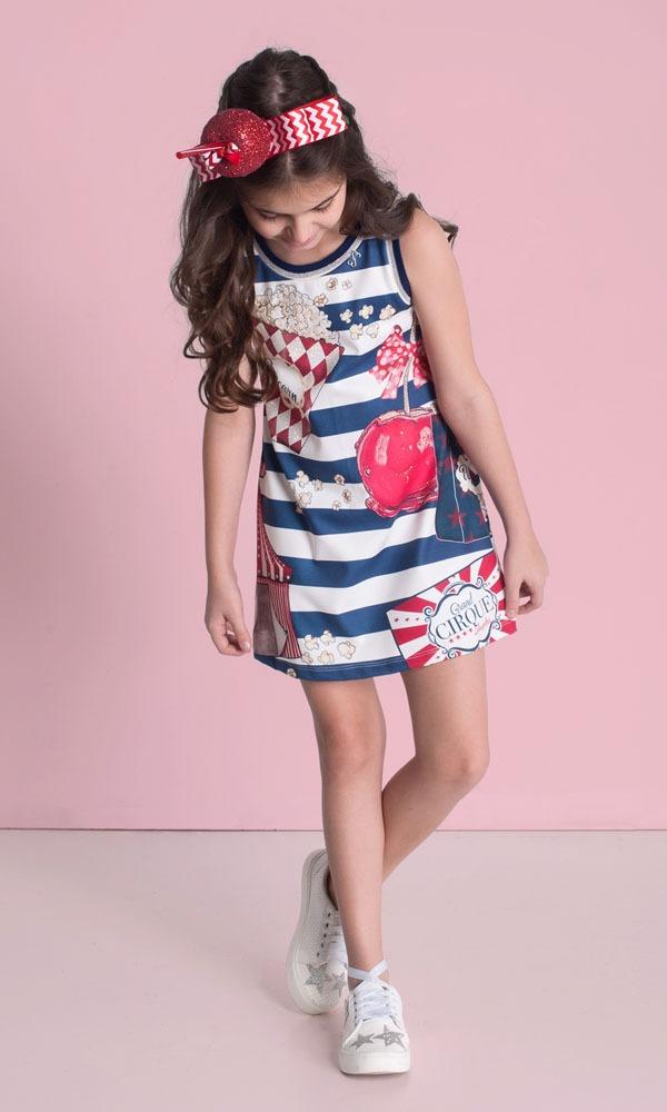 vestido infantil trapezio luluzinha guloseimas modelo