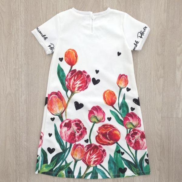 vestido infantil anime trapezio tulipas costas