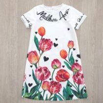 vestido infantil anime trapezio tulipas frente